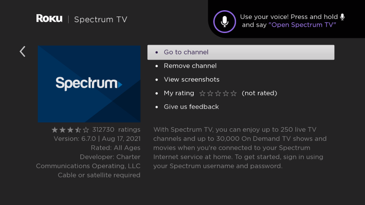 click go to channel to open spectrum app on roku