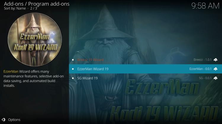 Choose EzzerMan Wizard 19