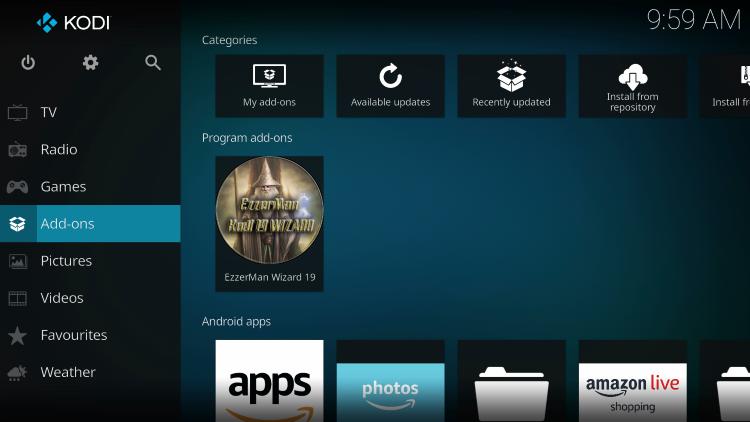 Return to the Kodi home-screen and under add-ons choose EzzerMan Wizard 19