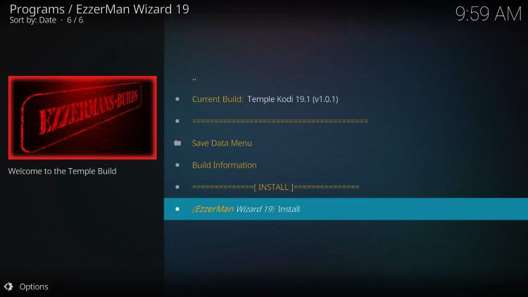 Click Install temple kodi build