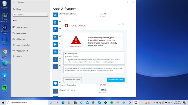 click lose my protection to uninstall mcafee