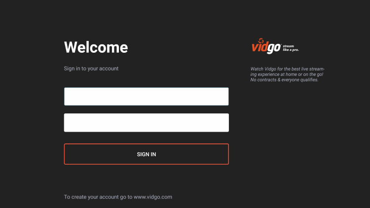 sign in with account credentials