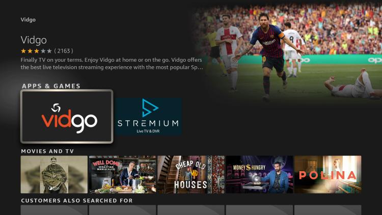 select the vidgo app