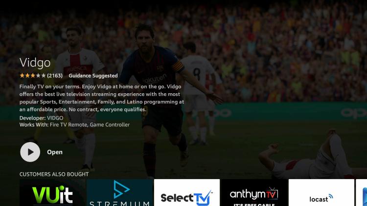 click open to launch vidgo app