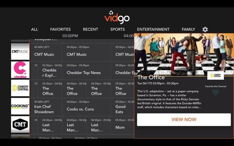 vidgo interface