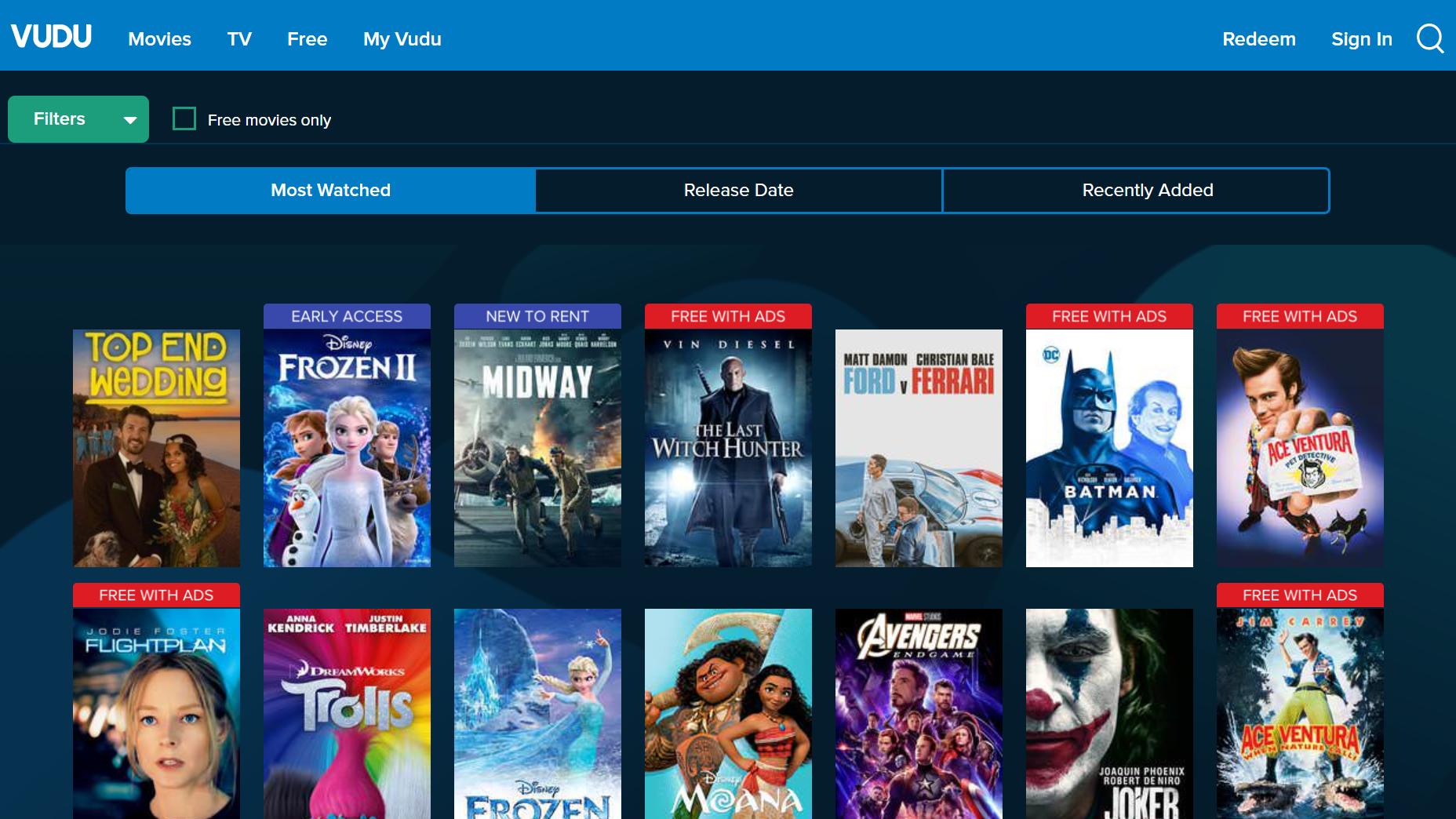 vudu interface free movie apps