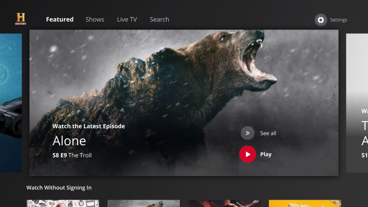 launch app to watch history channel