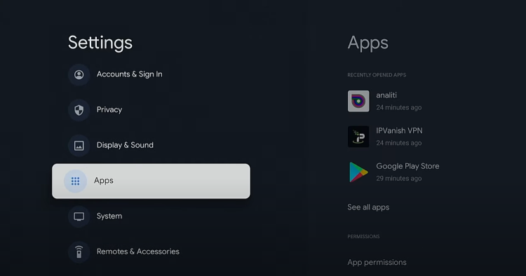 Return back to Settings and click Apps.