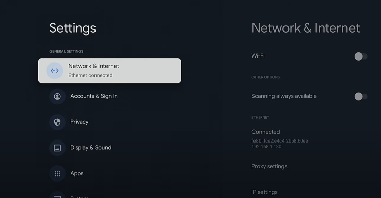 Within the Settings menu you will now notice your Chromecast with Google TV is connected to Ethernet.