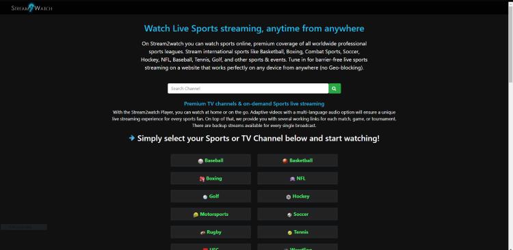 stream2watch website