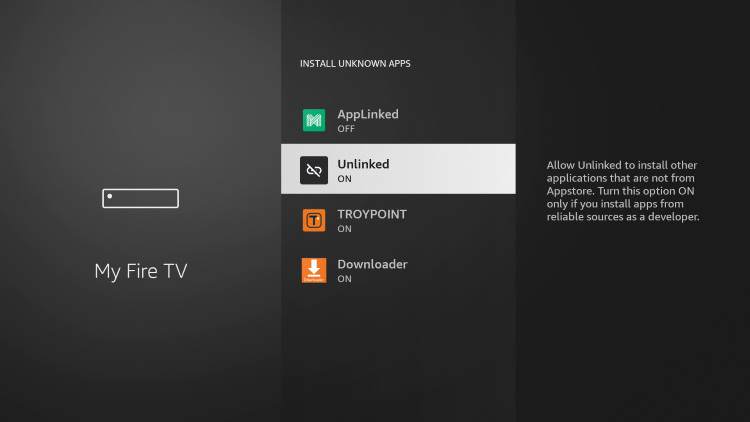 Prior to launching Unlinked, you will need to enable Install Unknown Apps within the developer options.