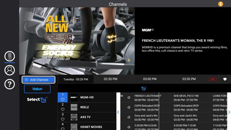 selecttv main menu