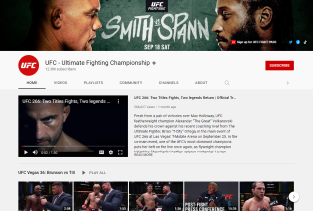 ufc youtube channel