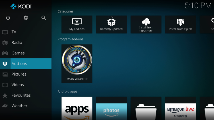 Return to the Kodi home-screen and under add-ons choose cMaN Wizard 19
