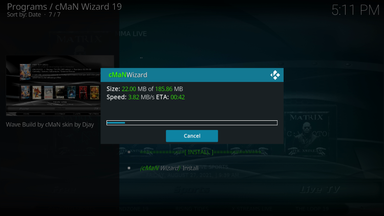 Wait for the wave kodi build to install