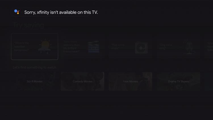 xfinity stream on android tv notification