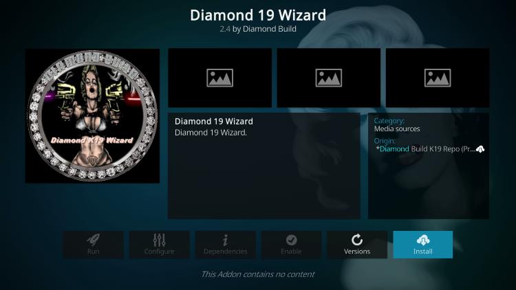 Click Install diamond kodi build