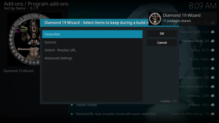 Wait for the Diamond 19 Wizard installed message