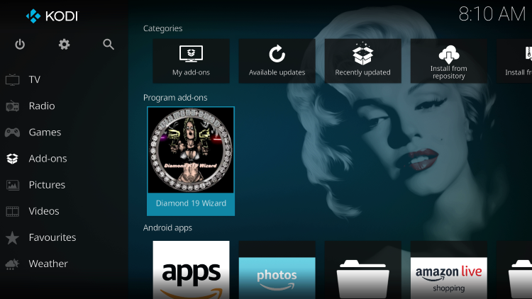 Return back to the home screen of Kodi and hover over Add-ons. Then click Diamond 19 Wizard.