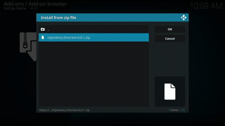 Click the zip file URL - how to use kodi