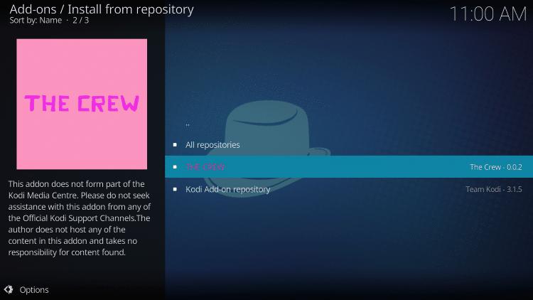 Click The Crew Repository.