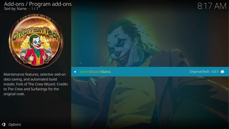 Choose JokerWizard Matrix to install joker kodi builds