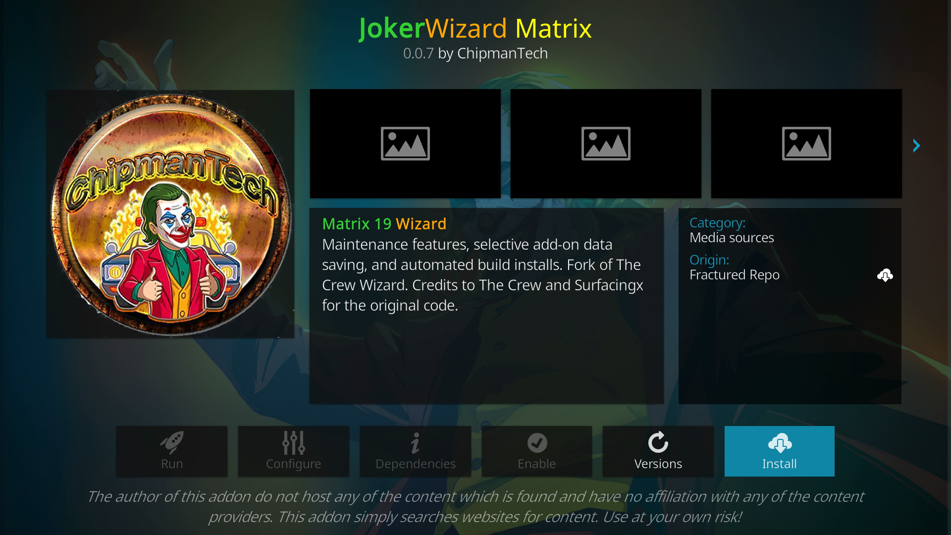 Click Install joker kodi builds