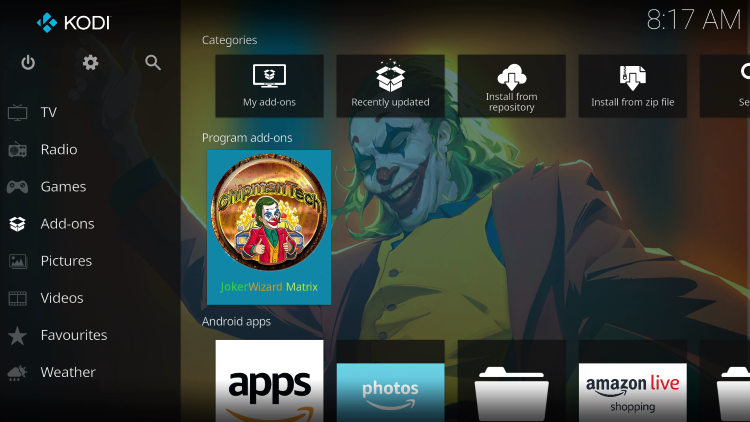 Return back to the home screen of Kodi and hover over Add-ons.