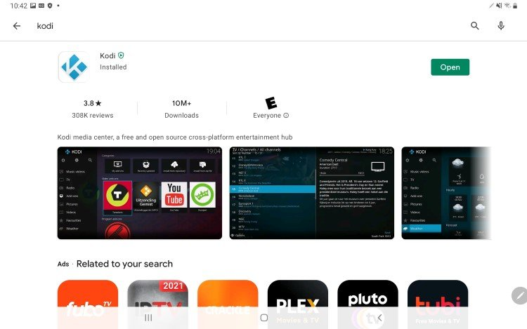 you can now open Kodi on android for use