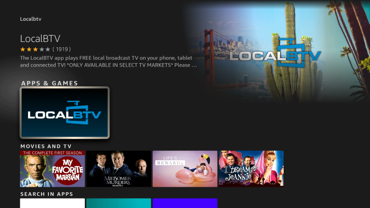 Select LocalBTV under Apps & Games.