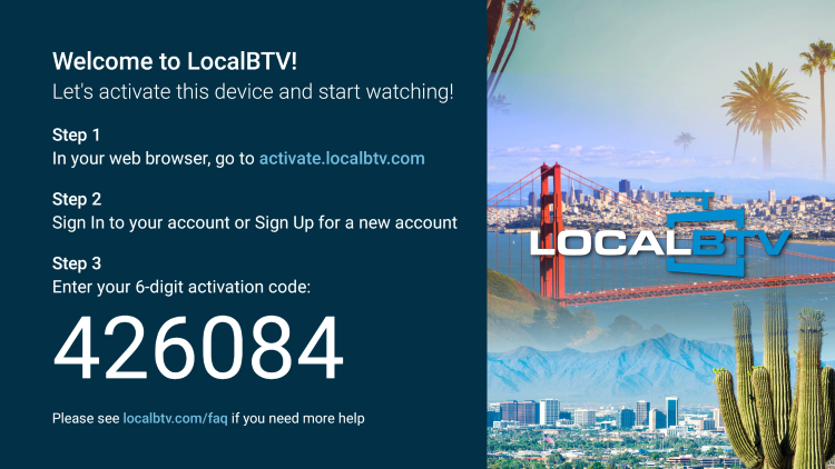 You will be prompted with an activation screen with a 6-digit code.