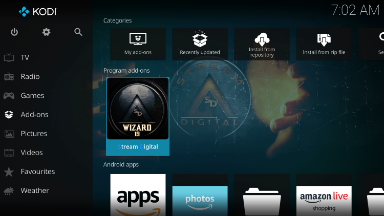 Return back to the home screen of Kodi and hover over Add-ons. Then click Stream Digital.