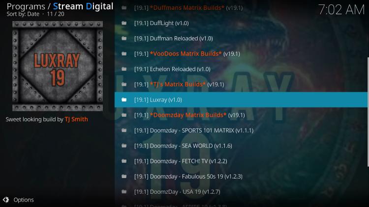 Select the Luxray Kodi build