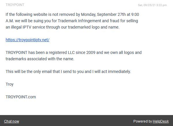 TROYPOINT IPTV Message
